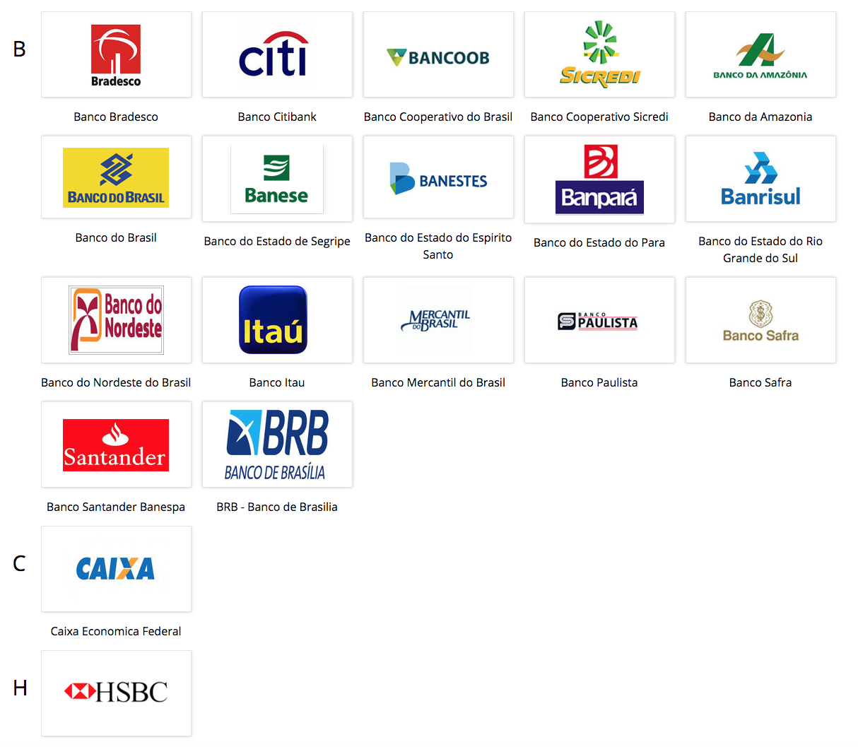 logos of Sharemoney's partner banks in Brazil