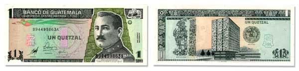 1 Guatemalan Quetzal Bill