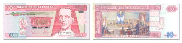 10 Guatemalan Quetzales Bill