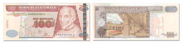 100 Guatemalan Quetzales Bill