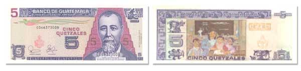 5 Guatemalan Quetzales Bill