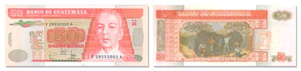 50 Guatemalan Quetzales Bill